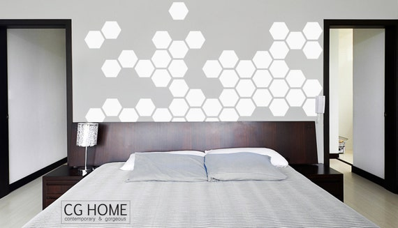 white HEXAGON geometric Honeycomb Headboard Bedroom Design White Pattern Stickers Classic Style WALL decal vinyl at home