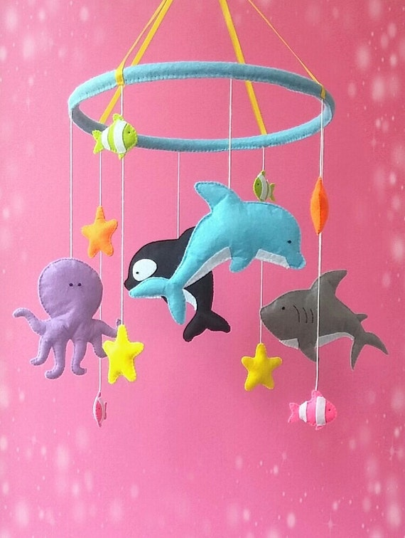 Ocean nursery baby crib mobile under the sea nursery by for Sea animal baby mobile