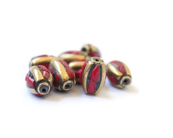 One Tibetan Bead - Coral and Brass Inlay - 14mm Bead - Jewelry Making - Spiritual Jewelry - Handmade - Oval Bead - Tibetan Bead