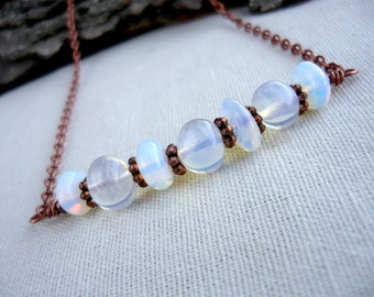 Opalite moonstone necklace Beaded necklace Stone necklace Opalite necklace Boho necklace Bohemian necklace Moonstone jewelry Gift for her