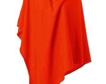 ANNA KRISTINE CASHMERE - Luxurious Sunrise Orange Pure Cashmere Poncho Wrap