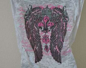 Pink Fleur de Lis with Gray Wings on 1/2 Sleeve Burn-Out T-Shirt