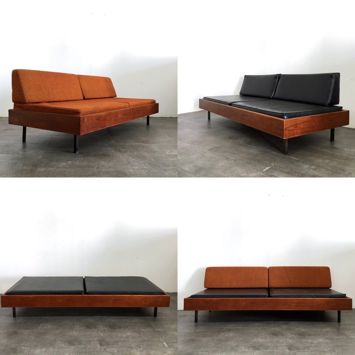 Reserved rare mid century modern walnut daybed bench sofa Daybed bench