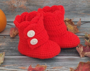 Size 4 Crochet Baby Boots - Baby Girl Boots - Infant Boots - Infant Girl Boots - Girl Toddler Boots - 8-12 Month Boots