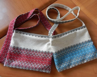 Ukrainian bag Ethnic textile bag Ukrainian embroidered bag Linen bag Boho bag Fabric bag Women's bag Summer bag Red Blue