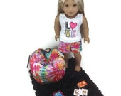 "18"" Doll Clothes, American Girl Doll Clothes, Tank Top, Shorts, Headband, IPAD, Bean Bag and Black Rug"