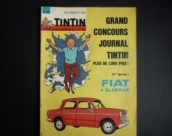 Tintin journal. 1963 cover Hergé. annee.n.28 18th. Fiat urania. Edition of Canada. Sixties car.