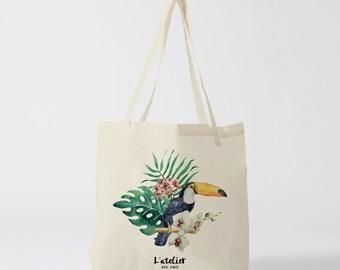 X68Y Tote bag toucan, animal tote bag, cotton bag, bag canvas, handbag, diaper bag, tote bag, gift for bridsmaid wedding bag