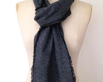 SALE Navy Scarf - Herringbone Scarf - Navy Blue Mens Scarves - Navy Wool Scarves Shawls Wraps Accessories Men - Gifts for Him - Made in UK