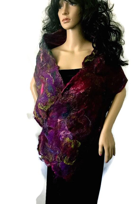 Outlander Claire's Violets and Roses at Dusk - Art Scarf - OOAK Felt Silk Cobweb Felt Purple Violet Pink Shawl Wrap Stole