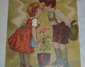 Two-Lips -  Boy and Girl Kissing on a Hillside  Unused Antique Love Postcard