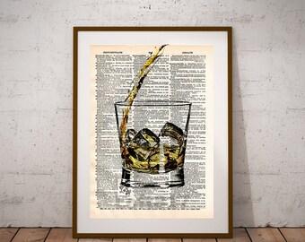 Whiskey pour, whiskey splash, pour me a whiskey art print