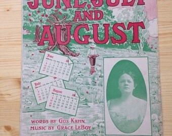Antique Sheet Music Large June July August Emma Carus Waltz Thompson Company Score Green Print Wabash Ave Chicago 1900s Sarah Shaw LeBoy
