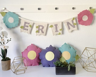 Floral Bunting Flag // Felt Flower Party Banner // Garden Baby Shower Theme // Neutral Color Flowers // Floral Garland // Garden Birthday