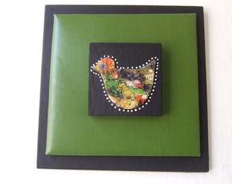 Little Birdie original mixed media collage wall art