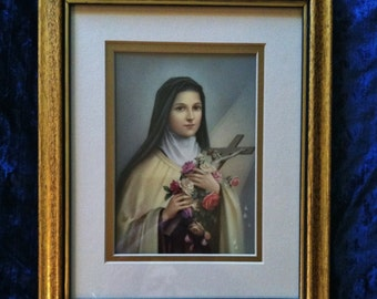 Vintage 1970's Saint Therese Framed Icon