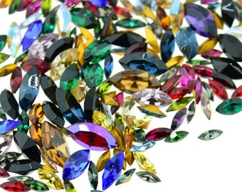 Swarovski Rhinestone Navettes Marquis Mix Different Sizes and Colors 50 Pieces Lot Vintage Repair Design