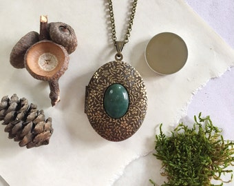 Enchanted Forest Natural Solid Perfume Locket Necklace - Botanical Handmade Scent