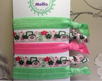 Farm Tractor Girls Pink And Green Hair Ties - Funky Bright Farm Tractor, Snag Free, Yoga Hair Ties,  Elastic Hair Ties