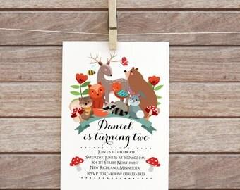 forest invitation, party woodland, birthday invitation, baby boy birthday, printable forest, rustic digital floral design animal bear fox 95