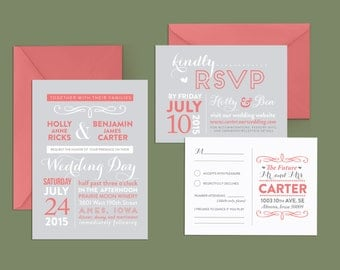 Fun Wedding Invitation and RSVP Postcard, Coral and Grey Printable Wedding Invitation, Modern Wedding Invite, Whimsical Wedding Invitation
