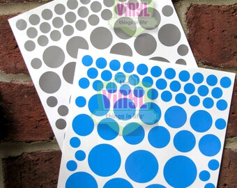 Polka dot decals, Vinyl polka dots, Polka dot stickers, Laptop decal, Polka dot sticker sheet