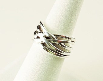 Size 8 Sterling Silver Weaved Wide Band Ring