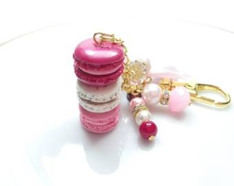 Pink Macaron Planner Charm, French Macaron Keychain, Kikkik planner charm, purse charm, purse jewelry, red macaron charm, Macaron Jewelry