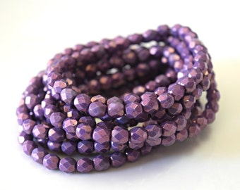 Purple Czech Fire Polished Faceted Opaque Beads Purple Czech Glass Beads Opaque Round Beads Purple Round Opaque 6mm (25pcs) 133V3