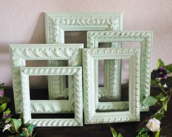 Mint Picture Frames.  Open Frame Set, Shabby Chic Sage Green Distressed Ornate, Set of 5 Gallery Wall, Nursery 4X6, 5X7, 3.5X5