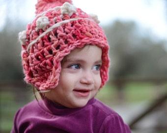 Girls winter hats , Crochet hat with ear flaps , Boys hat , Pom pom beanie.