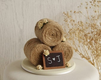 Rustic Hay Bale Wedding Cake Topper with Roses - Rose Cake Topper - Rustic Wedding Cake Topper - Farm Wedding Cake Topper -Summer Wedding
