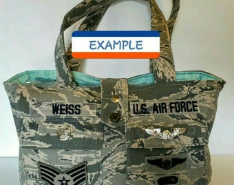 TOTE BAG-  Customized From Military Uniform- ALL Branches of Service!  Specially made from your own military camo shirt!