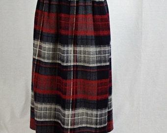 1960's Women's Multi Plaid Vintage Wool Skirt