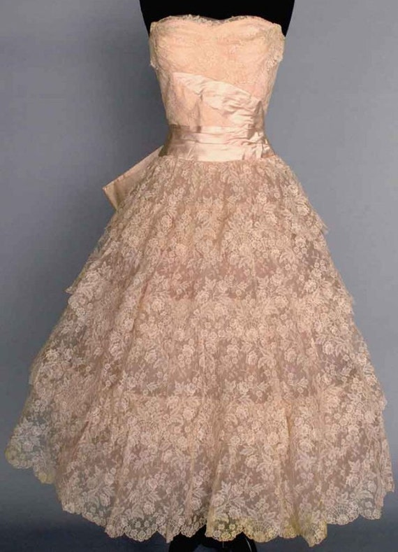 1950s lace wedding dress vintage wedding dress pink wedding for Best etsy wedding dress shops