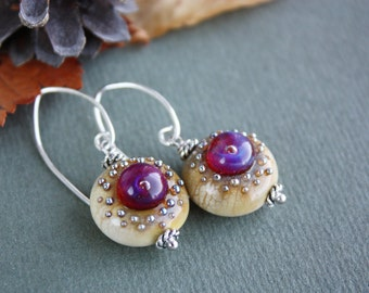 Lampwork earrings with sterling silver loops, glass earrings , purple earrings, lampwork jewelry, ivory earrings