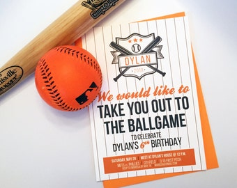 Baseball-Themed Birthday Party Invitation // Take Me Out to the Ballgame