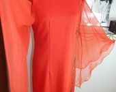 Alfred Shaheen Red Asian maxi dress Angel sleeves Vintage 1970s Mandarin collar M