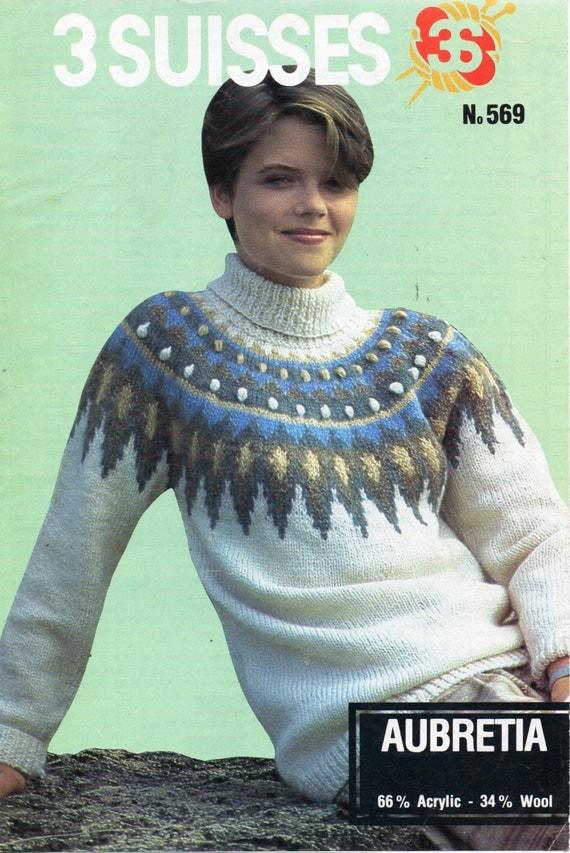 womens fair isle sweater knitting pattern pdf ladies polo neck ...