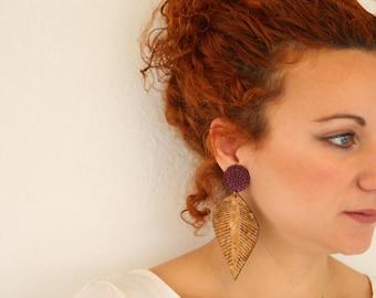 Feather Earrings Cork Earrings Unique Accessories Boho Earrings Long Summer Earrings Boho Jewelry Gift for her Large Earrings
