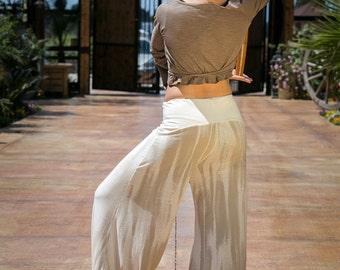 Stripe Cream Harem Pants, Woman's Harem Pants , Aladdin Trousers , Afghany , Belly Dance Pants