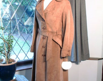 Absolutely Mint Beautiful Vintage 1970s Caramel Suede Longline Belted Rockstar Coat Deadstock by Leathercraft
