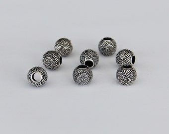 92.5 Sterling Silver Oxidized Om Round Beads 10 mm. Pack of 3 pieces, Wholesale silver findings.