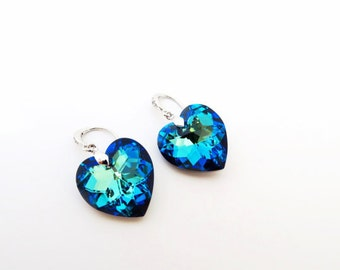 Swarovski Bermuda Blue Heart Crystal Earrings Blue Earrings Valentine's day Gift Bridal Drop Earrings Wedding Jewelry Bridesmaid Gift (E209)