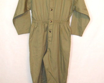 80s Jumpsuit, Vintage Avon Fashions Light Olive Green Long Sleeved Jumpsuit Size S Small to M Medium