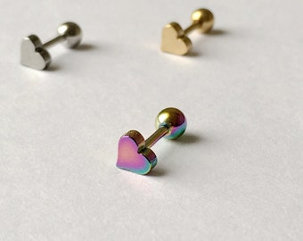 Heart Cartilage Tragus Earring. 16 gauge. S3.