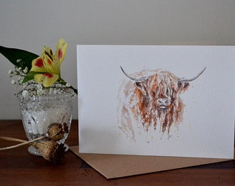 Highland Cow Watercolour Illustration Greeting Card- 300gsm White Card 177 x 127mm Blank Inside with Brown Recycled Envelope