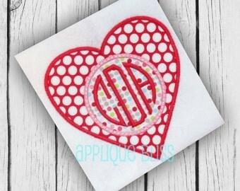 Monogram Heart Digital Applique Design - Valentine's Day Embroidery Design - Valentine's Day Applique Design - Heart Embroidery Design