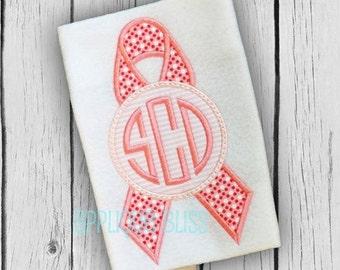 Monogram Cause Ribbon Applique Design - Breast Cancer - Applique Design - Cancer Ribbon - Alzheimer's - Non Profit - Awareness