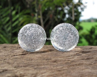 """1 Pair (2 Pieces) Translucent Silver Dichroic Glass Plugs No Background Color 10g 8g 6g 4g 2g 0G 00g  7/16"""" 1/2"""" 9/16"""" - 1""""  2.5 mm - 25 mm"""